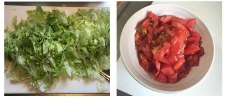 タコスの具材、レタスとトマトを切る