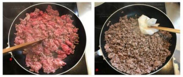 タコスの具材、挽肉を炒める