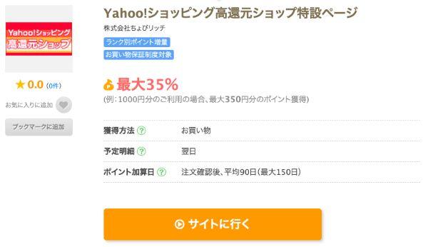 ちょびリッチに掲載されている最大35%還元のYahoo!ショッピングの広告