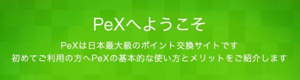 PeX公式ページトップ画面