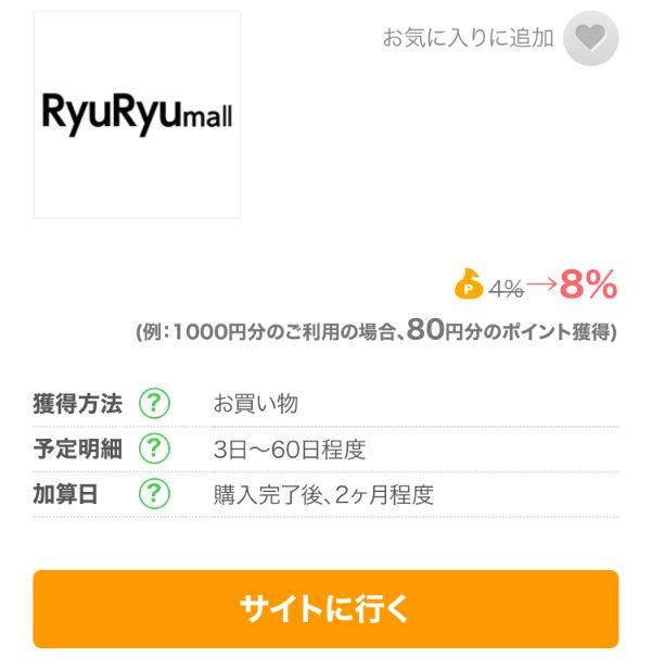 ちょびリッチに掲載されているRyuRyumallの8%ポイント還元広告